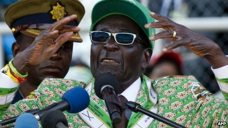 Zimbabwe's President Robert Mugabe addresses at a rally in Harare on 28 July 2013