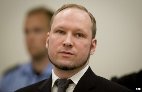 Anders Behring Breivik in court in Oslo, 24 August 2012