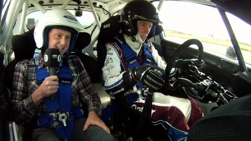 Newsbeat reporter Tom Martienssen is taken for a spin in the new Fiesta R5