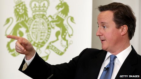 David Cameron delivering a speech and pointing
