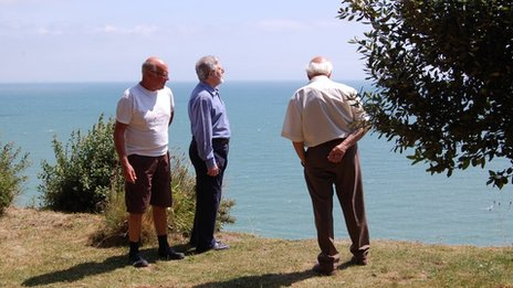 Members of the Fairlight Preservation Trust on the edge of the cliffs at Rockmead Road (left to right - Laurie Beetham, Paul Capps and Dr John Sinclair)