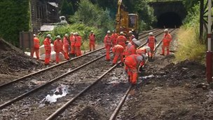 Rail workers at Walsden