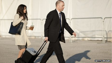 David Coombs, the lawyer for Pfc Manning, walks with a colleague