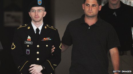 Bradley Manning is escorted by a US official