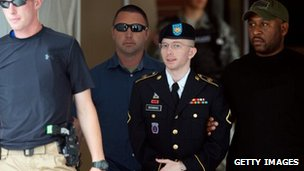 Private Bradley Manning leaves court