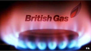 British Gas logo above hob flame