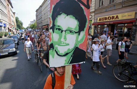 A poster of Edward Snowden at a rally in Berlin, 27 July