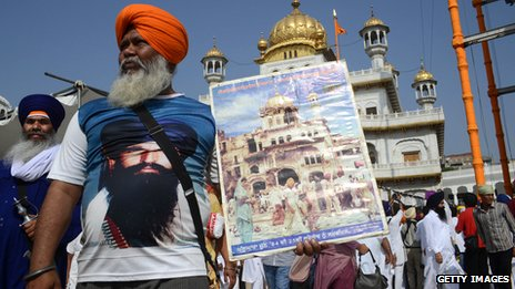 Supporters of the late Jarnail Singh Bhindranwale in Amritsar