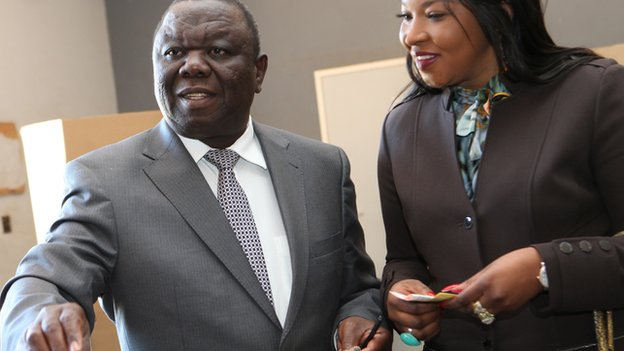 Morgan Tsvangirai votes with his wife Elizabeth Macheka in Harare