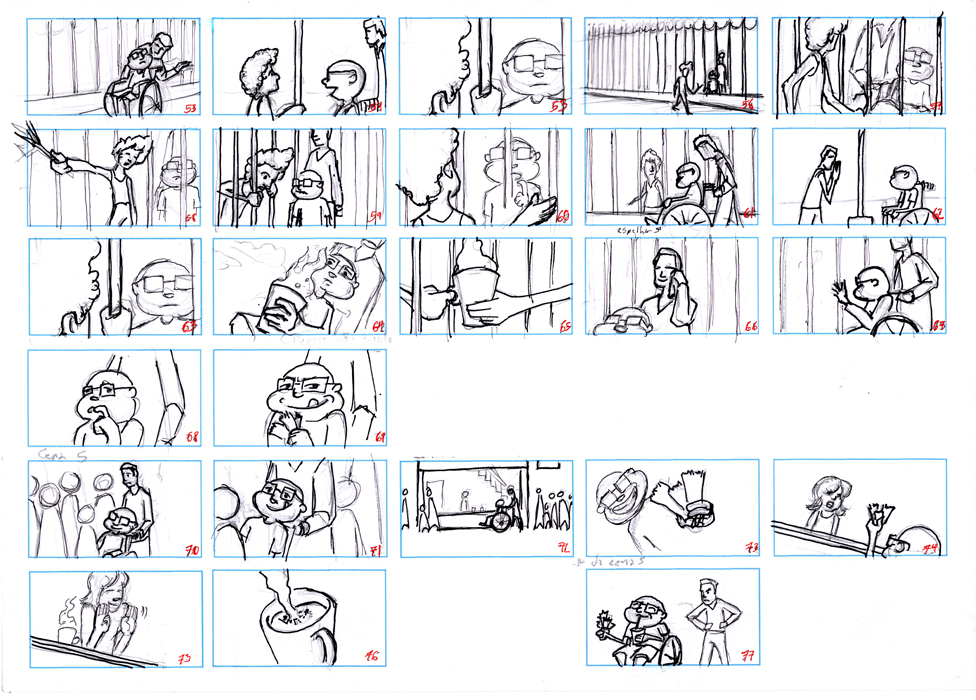 Storyboard for one of Paulo Machado's animations