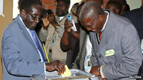 Robert Mugabe voting - 31 July 2013