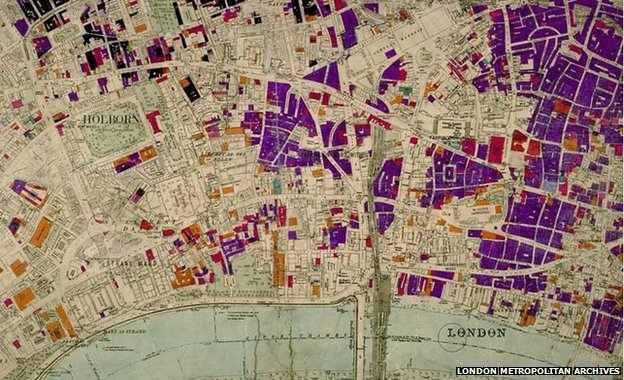 Bomb map of London - those areas shaded in purple indicate bomb-sites
