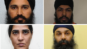 Clockwise from top left: Dilbag Singh; Mandeep Singh Sandhu: Harjit Kaur and Barjinder Singh Sangha