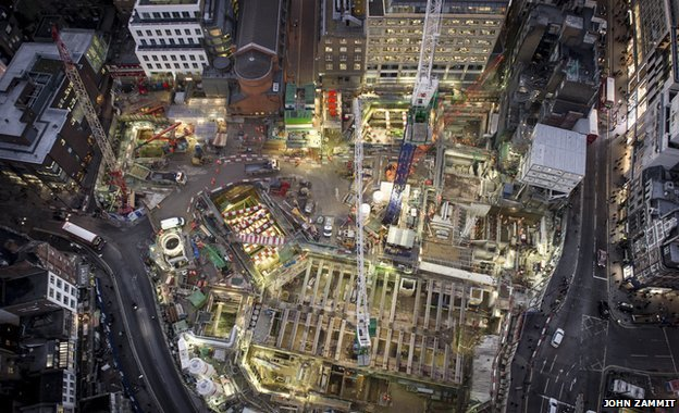 Aerial view of works at Goslett Yard in central London