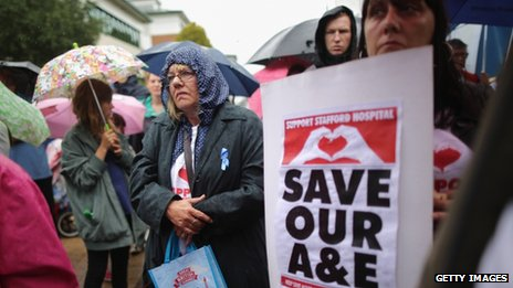 Campaigners outside Stafford Hospital on Wednesday