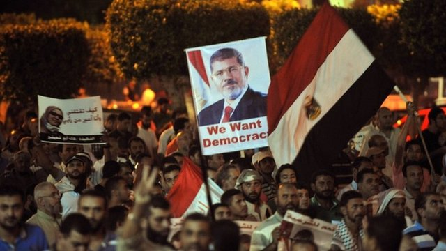 Pro-Morsi supporters holding pictures waving flags