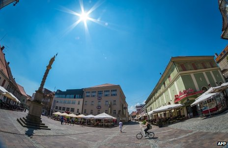 A square in Maribor, Slovenia, July 2013