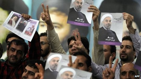 Iranian supporters of Hassan Rowhani (file photo)