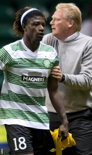 On-loan Celtic striker Mo Bangura and Elfsborg coach Jorgen Lennartsson