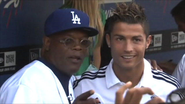 Real Madrid's Cristiano Ronaldo and actor Samuel L. Jackson