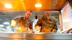 Soldiers at a canteen at the US air base in Manas, Kyrgyzstan
