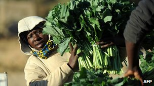 A woman holds bunches of greens at a market in Zimbabwe on 1 August  2013