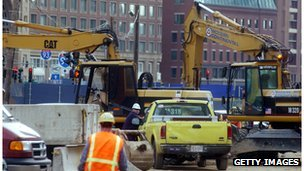 Construction scene from Boston's 'Big Dig'