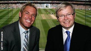 Shane Warne and Kevin Rudd