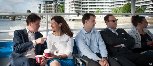 Nick Clegg and wife Miriam get a Thames commuter boat