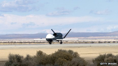 A Global Hawk on a tarmac, shown in 2003, that was made in Palmdale, California