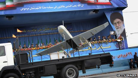 An Iranian drone on display in Tehran in 2010