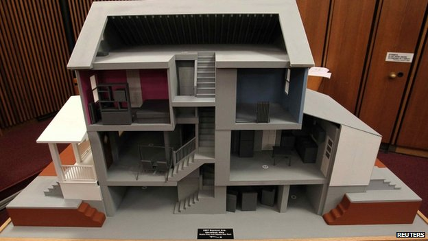 A model of the home of Ariel Castro is displayed in the court room on 1 August 2013