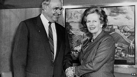 Helmut Kohl and Margaret Thatcher in 1986