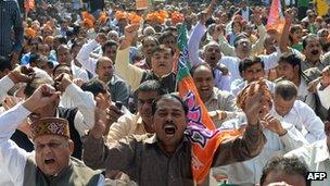Protestors shouting slogans