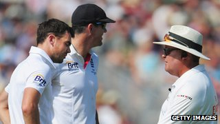 James Anderson, Kevin Pietersen and umpire Marais Erasmus