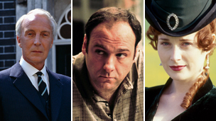 From left to right: Ian Richardson as Francis Urquhart in House of Cards, James Gandolfini as Tony Soprano, Natasha Little as Becky Sharp in Vanity Fair. Copyright BBC and AP