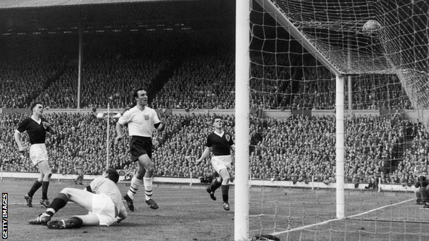 Jimmy Greaves scores his second and England's third goal after Frank Haffey spills the ball into his path