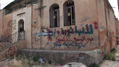 "Graffiti which says: ""Because it is a revolution so it is for all, freedom, dignity, equality"""