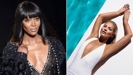 Two photos: Naomi Campbell on the catwalk and Kate Moss lying down next to some water in a white swimsuit