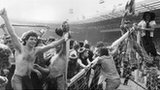 Scotland fans on the Wembley crossbar in 1977