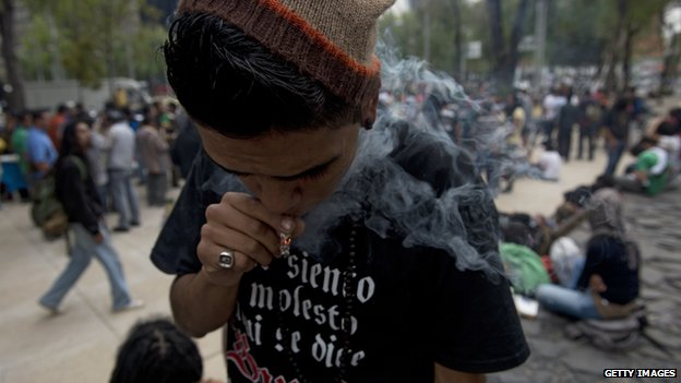A man smokes marijuana in Mexico City
