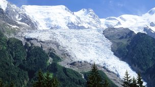 The Bossons glacier cascades down Mt Blanc's flank
