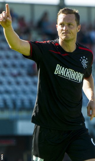 Jon Daly celebrates with Rangers