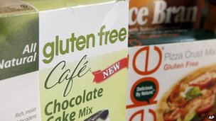 A variety of foods labelled Gluten Free are displayed in Frederick, Maryland 2 August 201