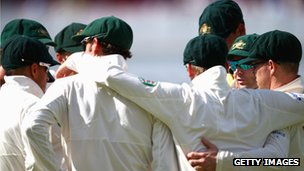 Australia in a huddle