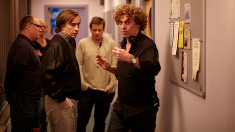 Steve Coogan and Declan Harvey on the Alpha Papa set