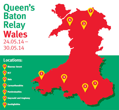 A map of the route the baton will take in Wales