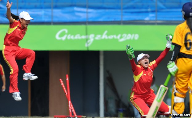 China's women team celebrate victory over Malaysia in the 2010 Asian Games