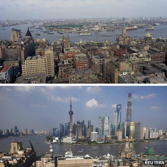 Before (1987) and after (2013) shots of Shanghai's financial district