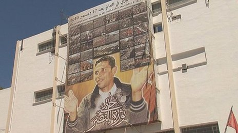 Poster of Mohammed Bouazizi hanging across the post office building in the city